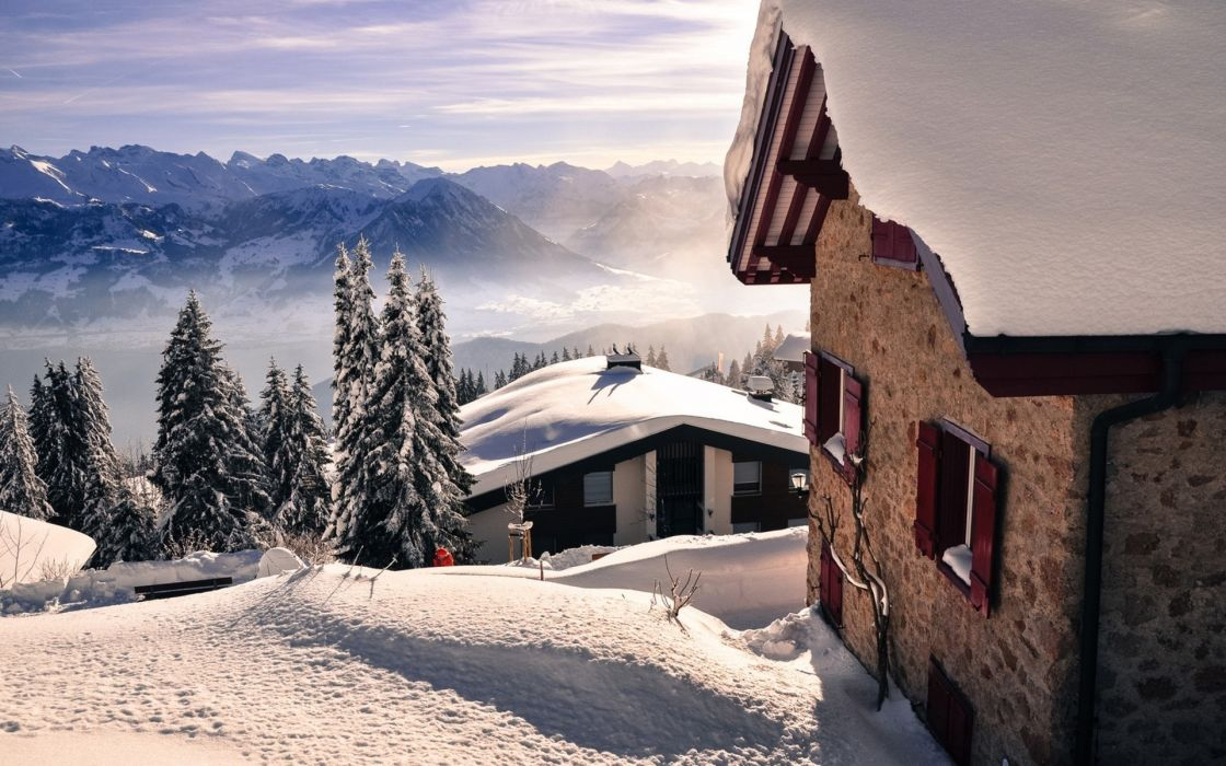 nature landscapes mountains winter snow seasons sky clouds cold trees sunlight fog mist haze scenic architecture buildings stone rock houses roof wallpaper
