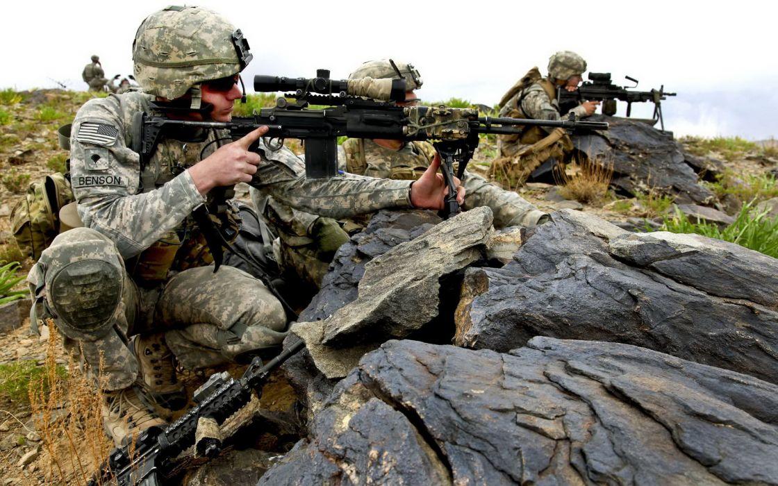 military warriors soldiers uniform camo people men males weapons guns rifles manchine landscaoes helmet army hills wallpaper