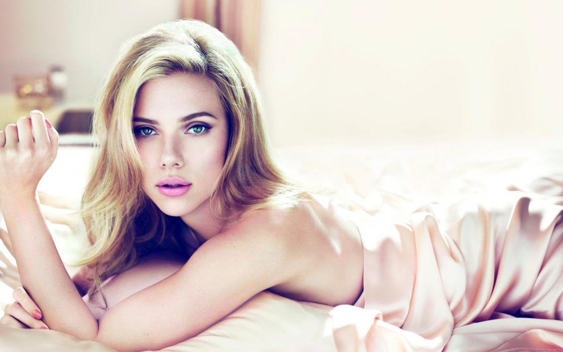 Scarlett Johansson actress celebrities blondes people women females girls face eye lips satin silk pose babes sexy sensual wallpaper