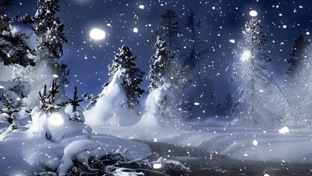 nature landscapes christmas trees forest snowing snowflakes winter snow seasons mountains white wallpaper