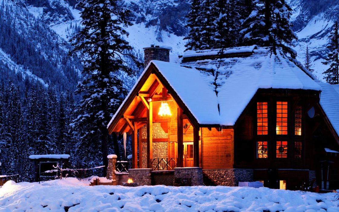 Nature Landscapes Architecture Buildings Houses Resort Cabin Hdr Night  Lights Winter Snow Trees Forests Mountains Color