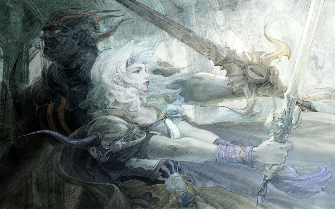 Final Fantasy IV role playing video games soft warriors soldiers demon dark horns scary mask fan art artistic swords weapons women females girls babes blondes wallpaper