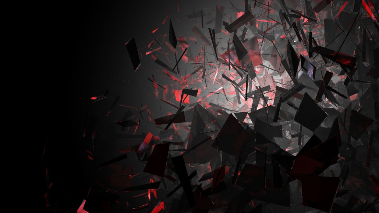 cg digital art 3d fracture broken explosion contrast dark silhouette light shine artistic psychedelic wallpaper