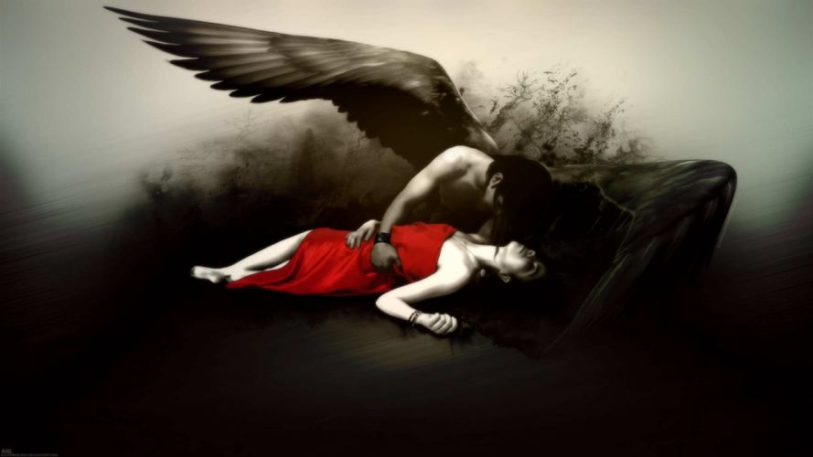 fantasy fallen angel gothic dark wings mood emotion sad sorrow death color contrast pale love romance art artistic women females girls dress men males boy emo suicide macabre horror wallpaper