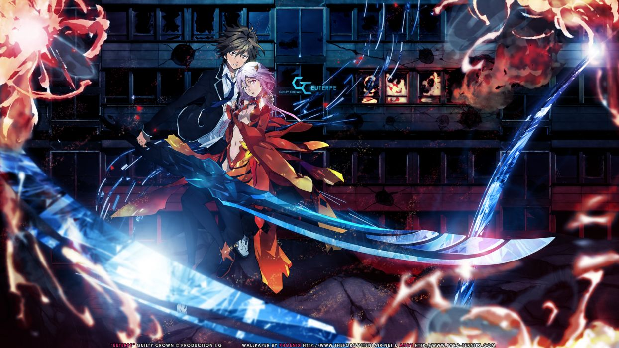 Guilty Crown love romance emotion fire flames art artistic color contrast weapons swords women females girls sexy sensual men males warriors soldiers weapons swords games fantasy shine light wallpaper