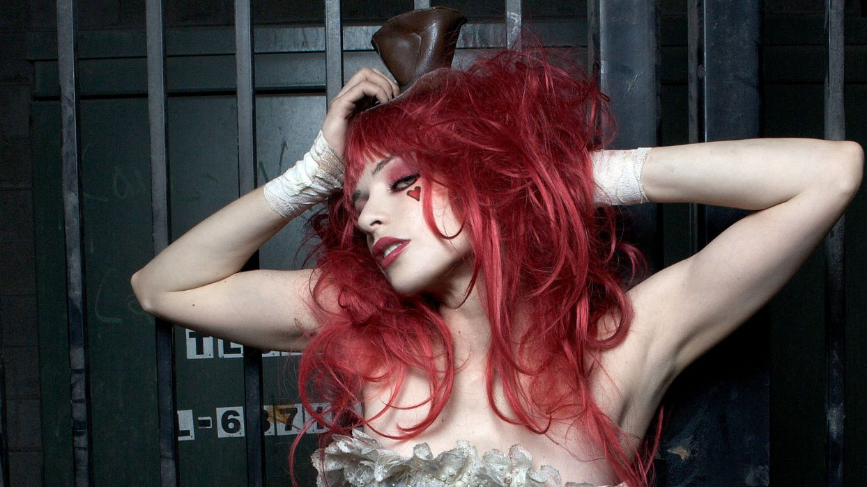 Emilie Autumn Liddell music singer songwriter poet violinist Victorian industrial glam women females girls babes sexy sensual redhead pale musician tattoo style face eyes lips wallpaper
