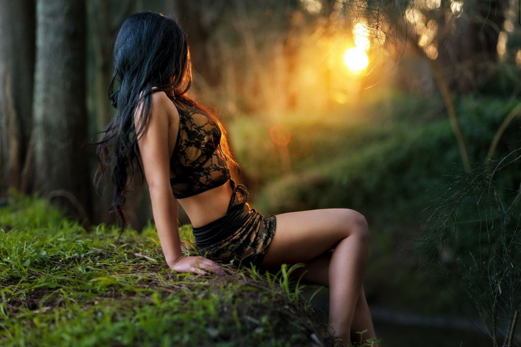 nature landscapes trees forests moss sunset sunrise sunlight sunbeam sun color photography gothic occult witch dark women females girls babes legs pose style breast cleavage boobs mood emotion fantasy wallpaper