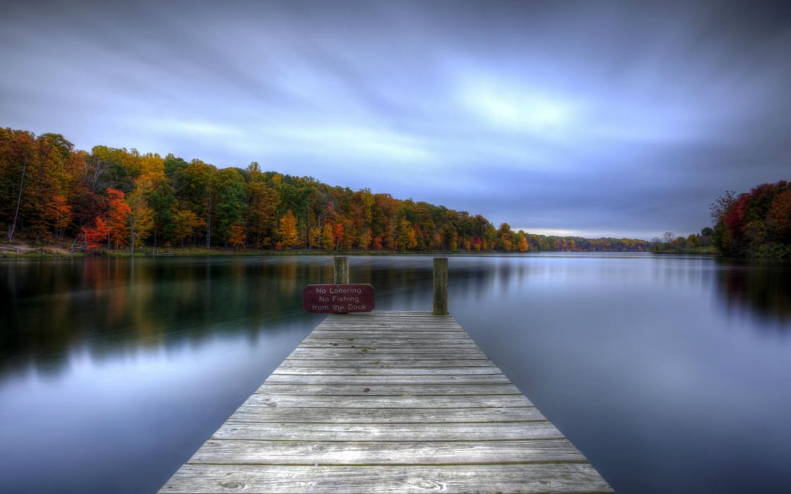 nature landscapes lakes water reflection dock pier shore hdr trees forests autumn fall seasons sky clouds signs leaves scenic wallpaper