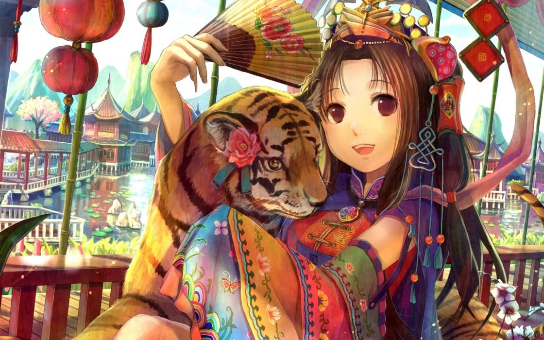 Anime Manga Original Color Art Artistic Animals Cats Tigers Babies Cubs Asian Oriental Kimono Jewelry Flowers