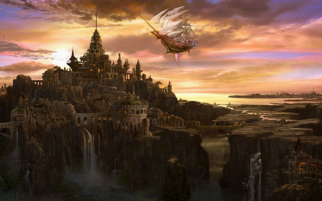 abstract detail paintings art artistic cg digital color landscapes nature waterfalls magical rivers architecture buildings cities world castles sky clouds sunlight sunrise sunset scenic bridges ocean sea reflection ships sails schooner flight fly lights f wallpaper