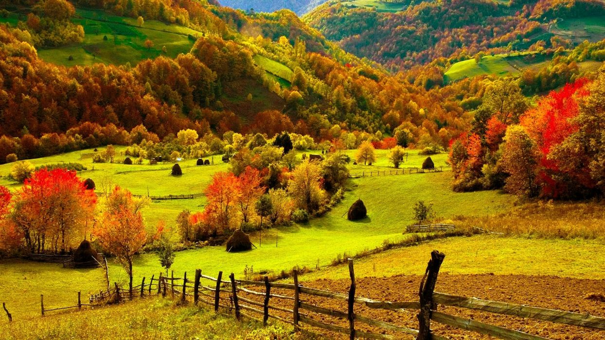 Nature Landscapes Fields Hills Fence Grass Farm Trees Forests Autumn Fall Seasons Leaves Color Scenic View