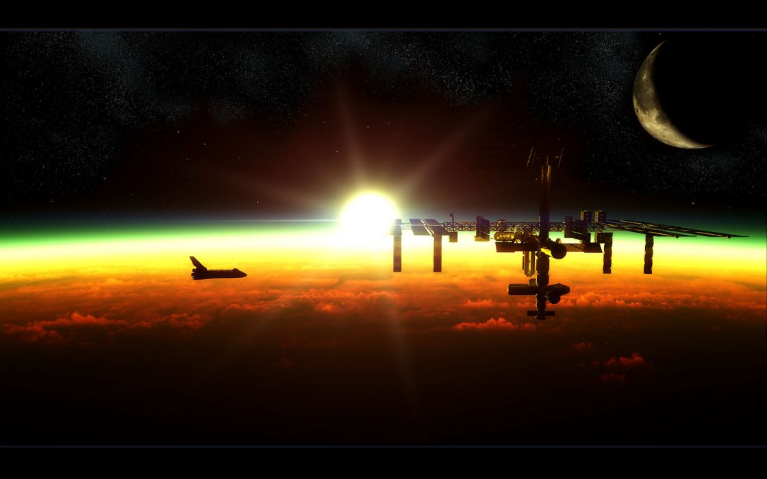 sci fi science fiction cg digital art manipulation space station spacecraft spaceships planets atmoshere clouds sunlight sun moon color scenic space stars shuttle architecture solar system wallpaper