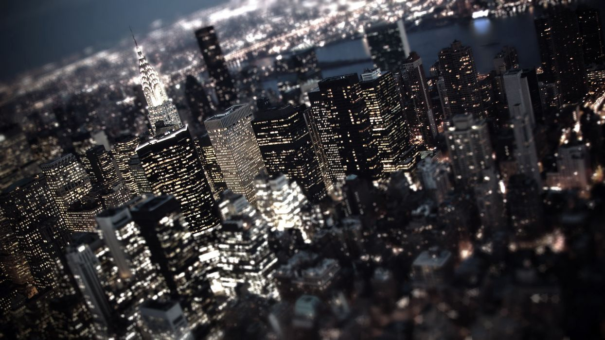 world place cities architecture new york empire state buildings skyscrapers tilt shift window night lights rivers water scenic view panorama skyline cityscape contrast wallpaper
