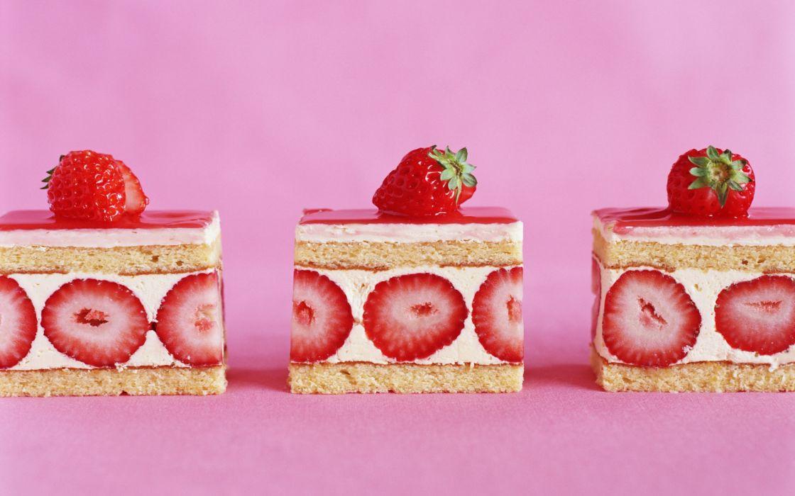 food desert sweet cake fruit strawberries color cream sugar red pink wallpaper