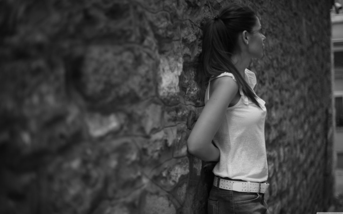 black white architecture wall building pose brunettes mood emotion women females girls models babes sexy sensual wallpaper