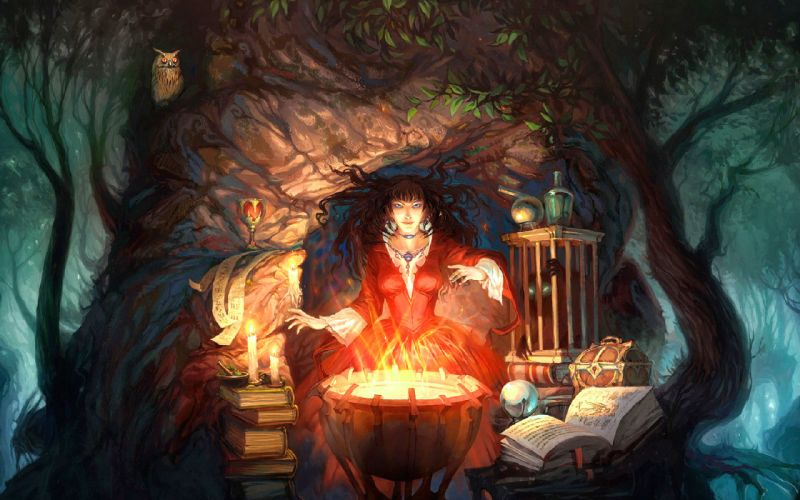 witch occult wiccan wicca cauldron fire flames magic book spell book trees forest cg digital art artistic forest detail dark halloween fantasy wallpaper