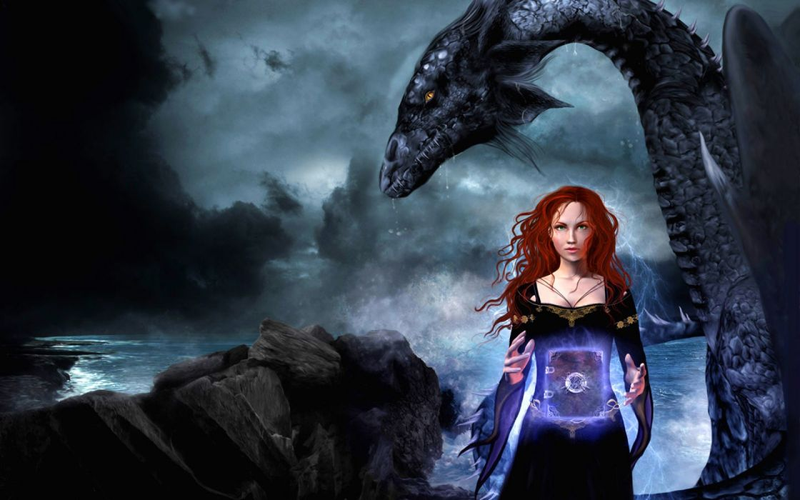 Les Bannis Et Les Proscrits James Clemens books fantasy dragons magic spell witch manipulation cg digital art landscapes nature ocean sea sky clouds storrn waves women females girls redhead pale gown dress necklace jewelry drops mood adventure gothic wallpaper