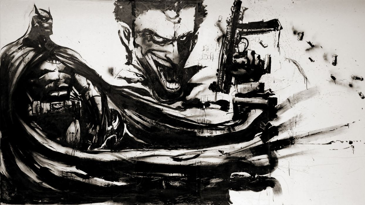 Batman Joker Dark Knight Oil Painting comics art artistic black white cape hero heroes super weapons guns rifles machine video games uniform costume evil wallpaper