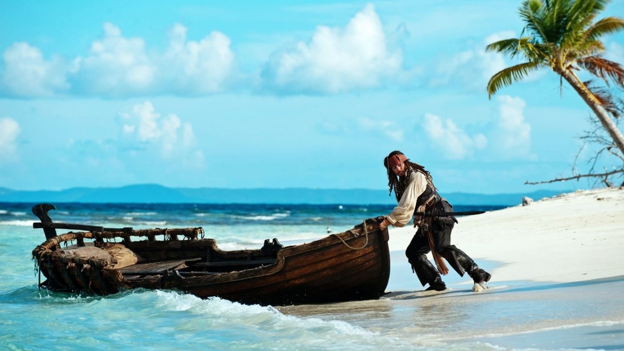 Pirates Of The Caribbean On Stranger Tides johnny depp pirate fantasy humor funny comedy vehicles boats ship people men males boy actor nature tropical sky clouds landscapes beaches sand shore coast ocean sea waves trees palm wallpaper