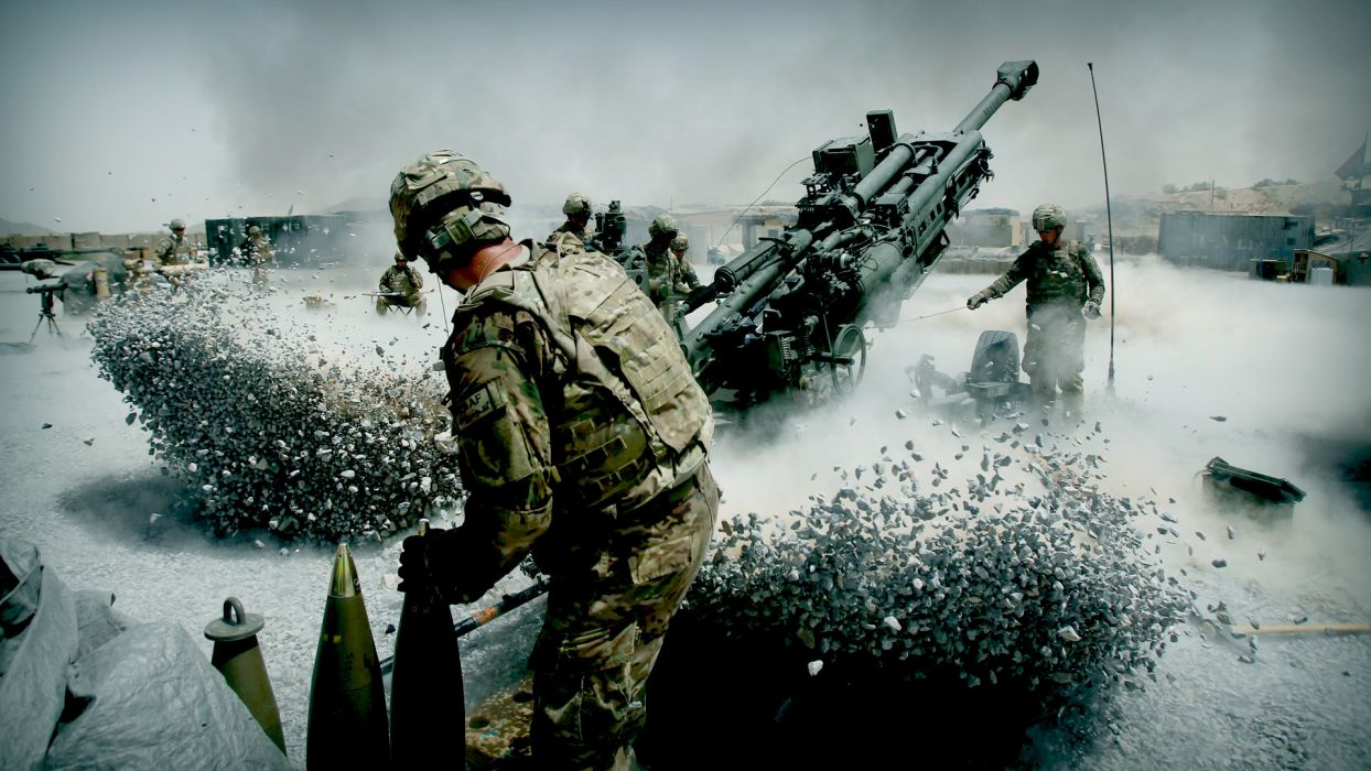 Artillery soldiers military weapons guns warriors soldiers cannon manipulation cg digital art battle war explosion people men males action motion wallpaper
