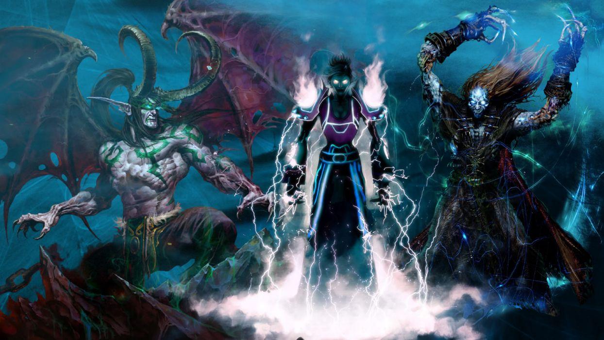 World Of Warcraft wow video games fantasy warrior magic wizard sorcerer magician dragons art dark demons chain wallpaper