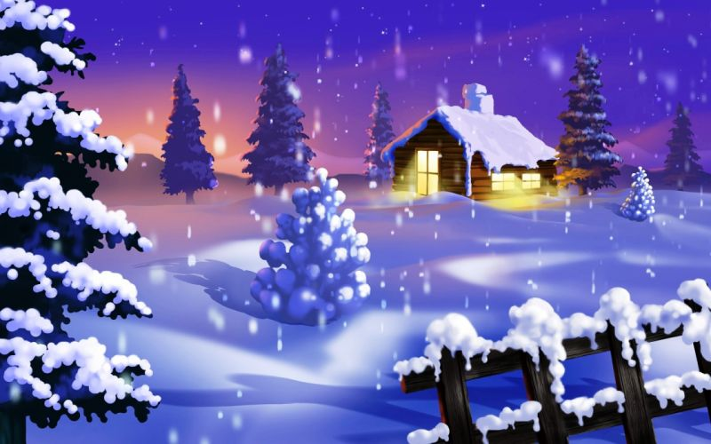 holidays christmas seasonal seasons winter snow flakes drops landscapes color art wallpaper