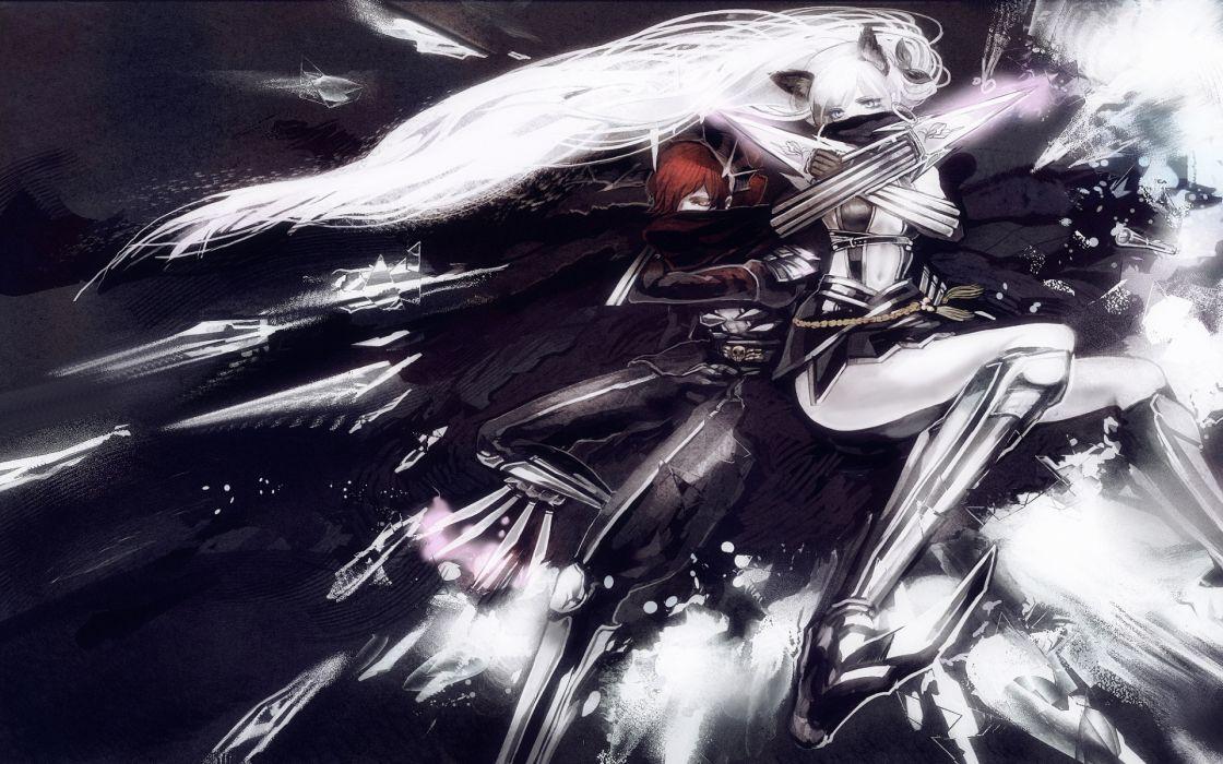 Pixiv Fantasia games fantasy armor weapons swords art artistic warrior bright wallpaper
