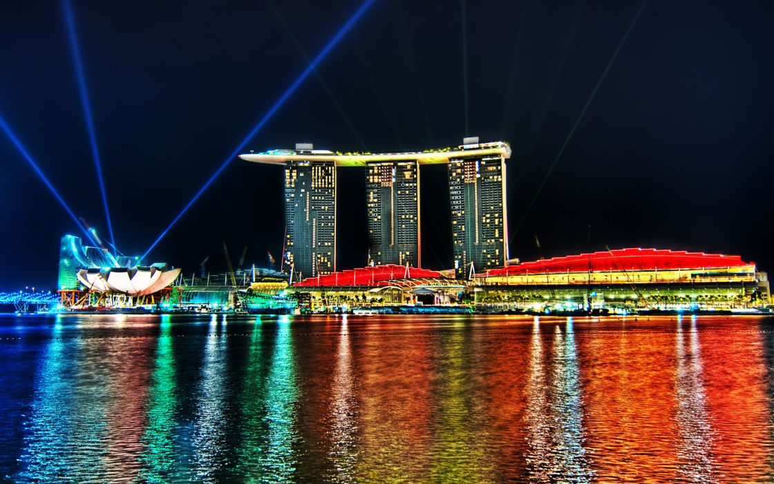 Marina Bay Sands Singapore resort hotel architecture buildings skyscrapers hdr color reflection water lights strobe beam wallpaper