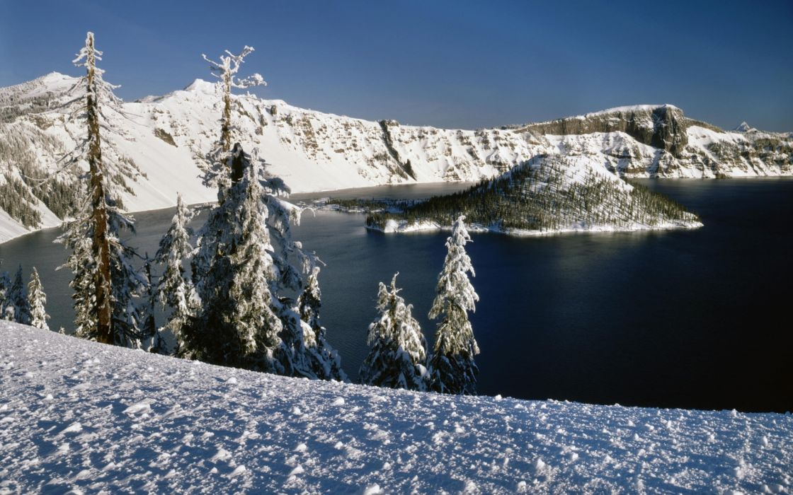 nature landscapes volcano lakes crater trees winter snow seasons cold sky wallpaper