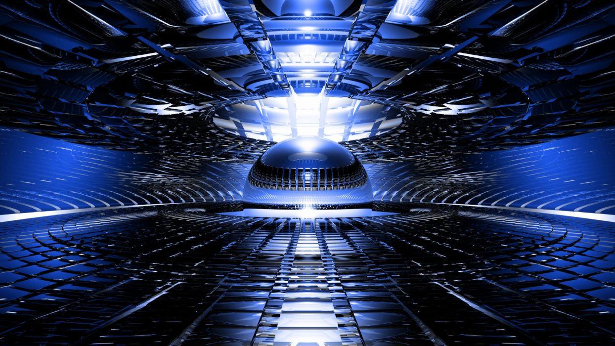 abstract 3d cg digital art chrome shine bright blue light wallpaper