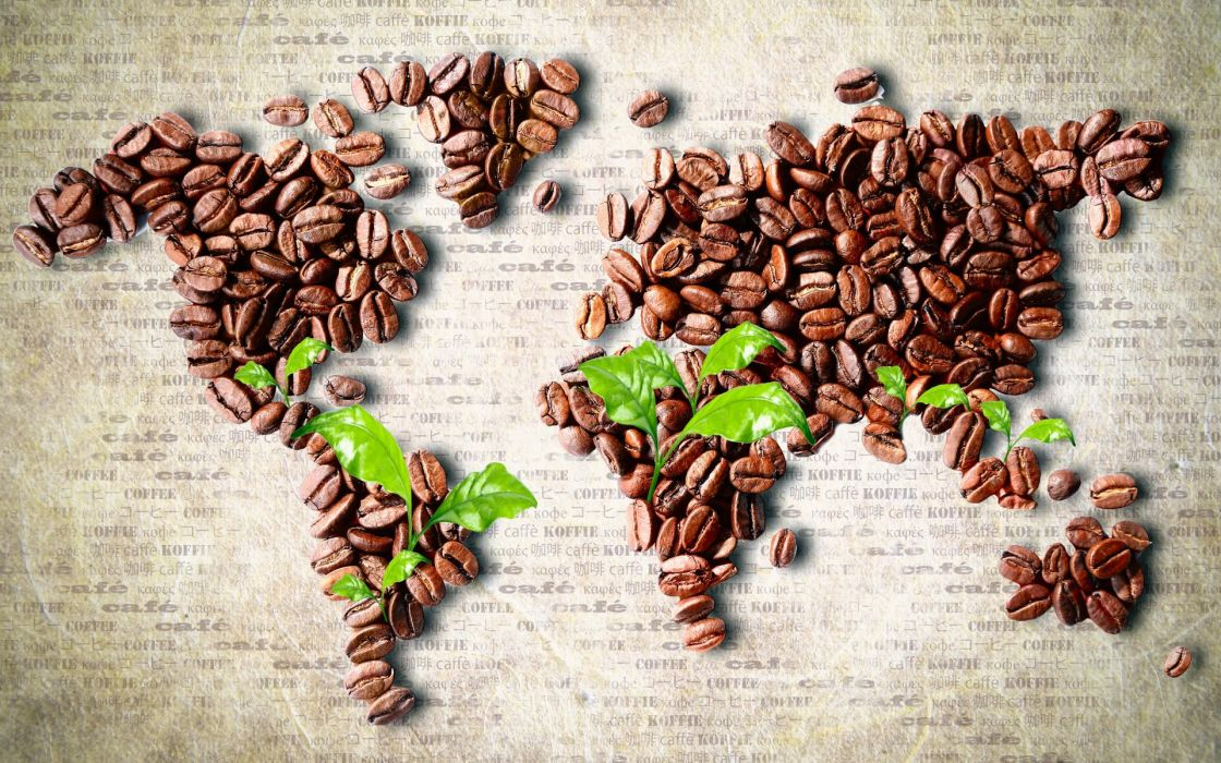 food drinks coffee maps continents news paper leaves art artistic beans wallpaper