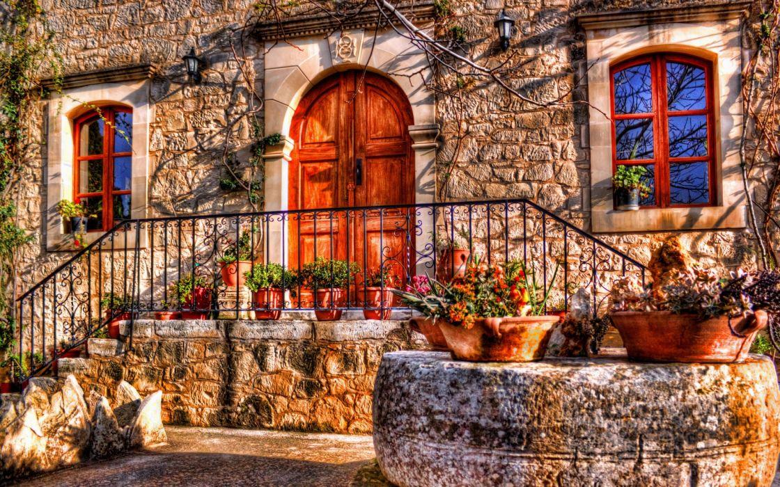 world architecture buildings apartments houses door hdr photography fence porch rail window plants flowers stone vine pots color wallpaper