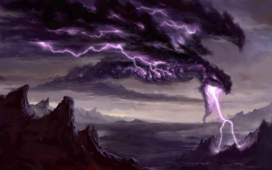 Magic The Gathering Hell's Thunder Cards decks fantasy games dragons fire lightning landscapes explosion mountains dark wings purple artistic storm sky clouds scary spooky magic wallpaper