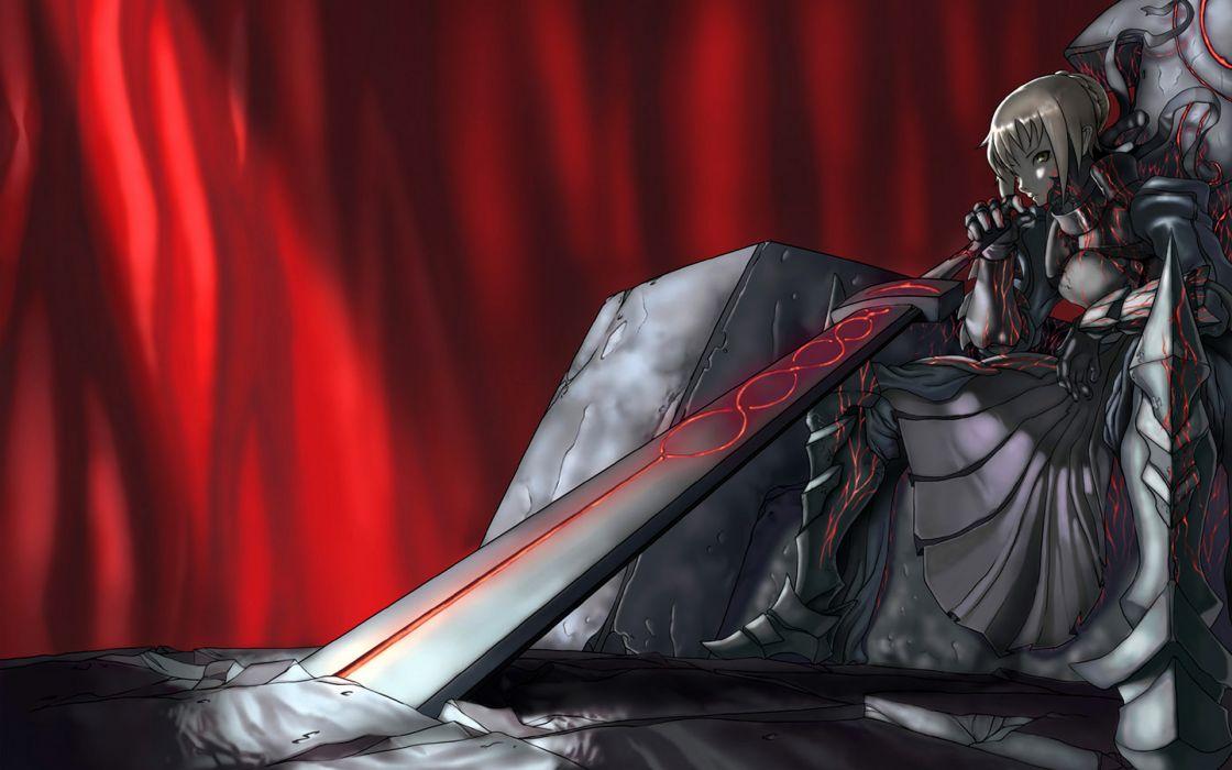 Fate/stay night anime manga dark weapons swords magic warrior fantasy women females girls art detail wallpaper