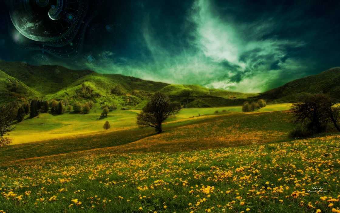 nature landscapes fields flowers hills plants trees sky clouds dream planets moon fantasy manipulation cg digital art photography wallpaper