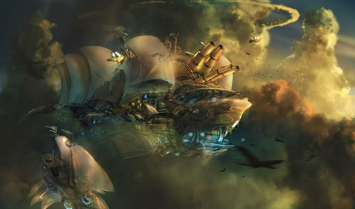 fantasy steampunk punk sci fi science fiction vehicles ships architecture cities sky clouds flight fly spaceship space craft sunlight sunset sunrise paintings artistic detail cg digital wallpaper