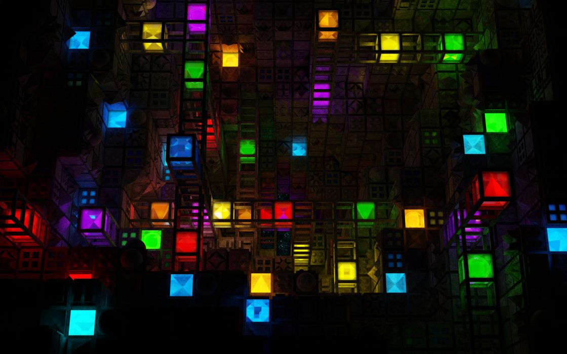 Abstract 3d Cg Digital Art Colors Cubes Square Shapes Pattern Dark Bright Artistic Wallpaper