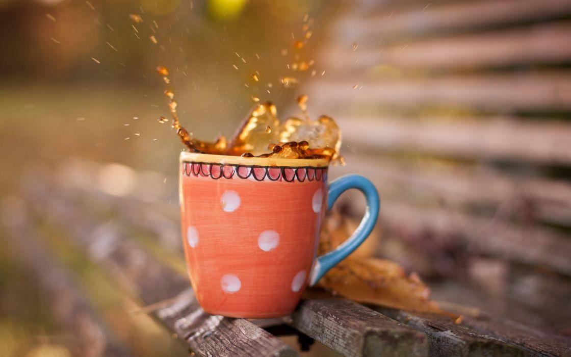 drinks coffee tea liquid cup splash drops bench bokeh photography wallpaper