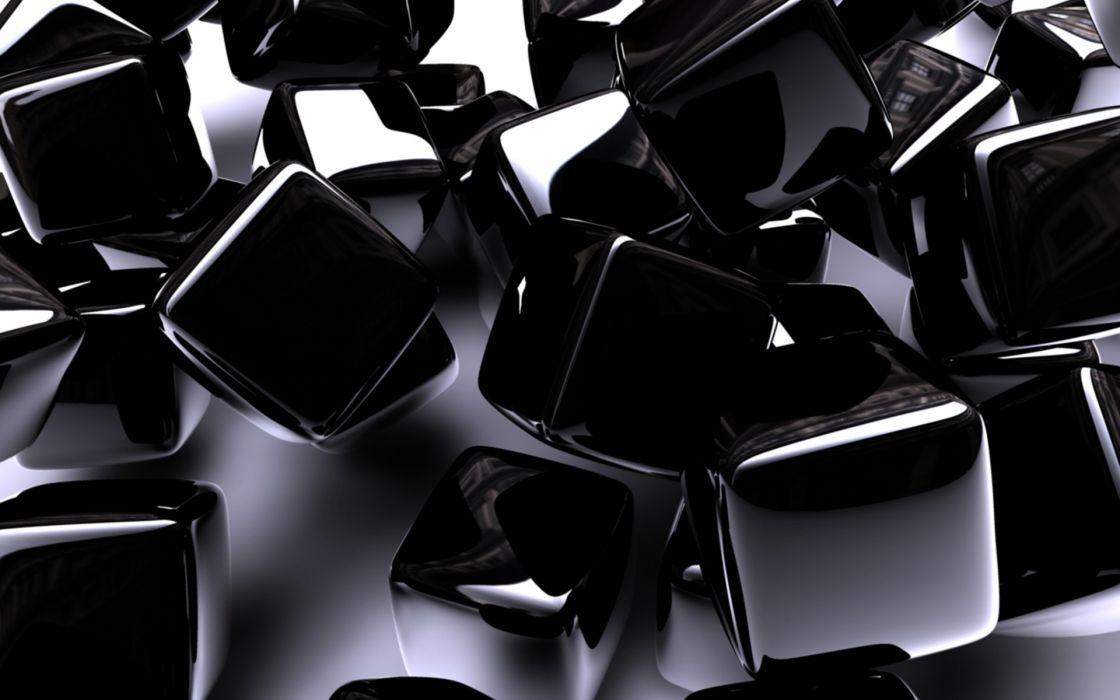 abstract 3d cg digital art cube square black chrome shine pattern wallpaper