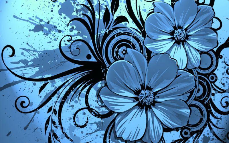 abstract vector artistic flowers nature blue petals wallpaper