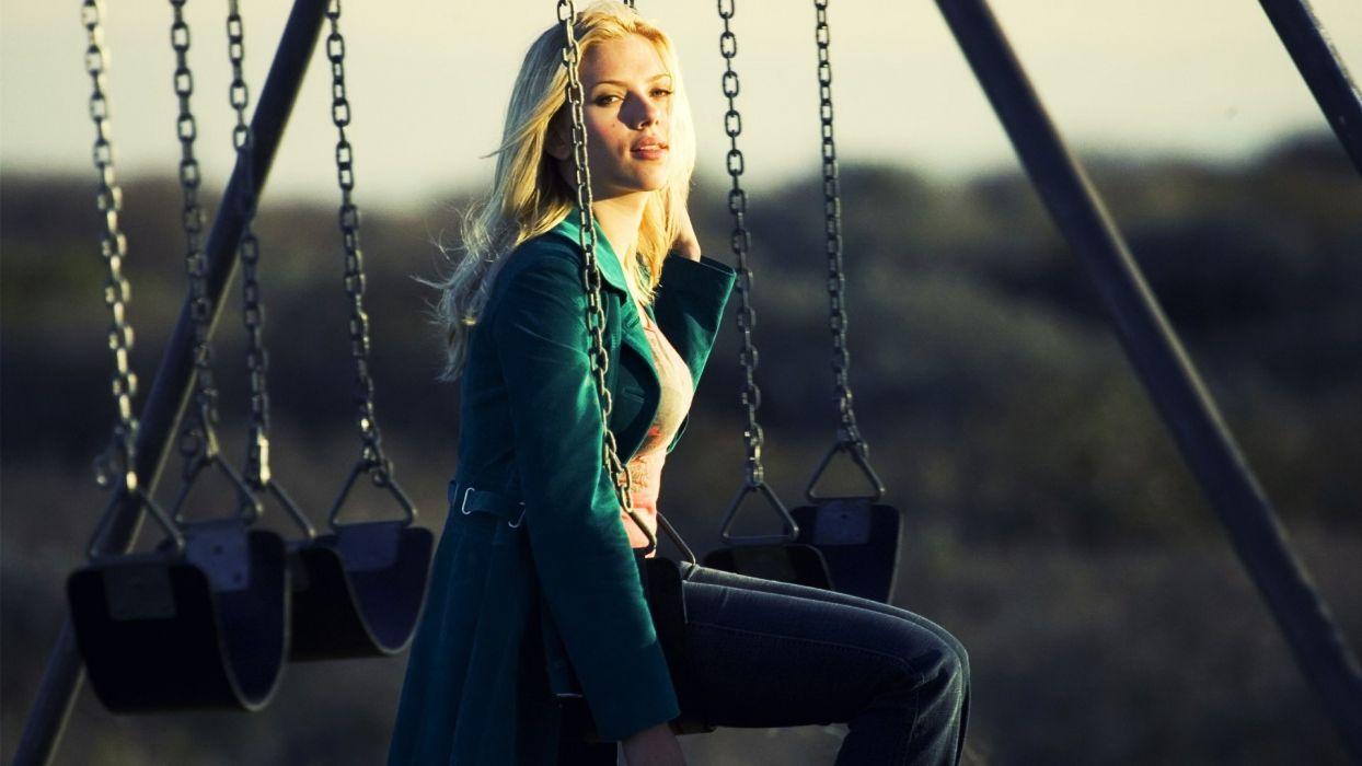 Scarlett Johansson celebrities actress blondes swing chain sunrise sunset bars legs face eyes lips women females girls babes sexy sensual wallpaper