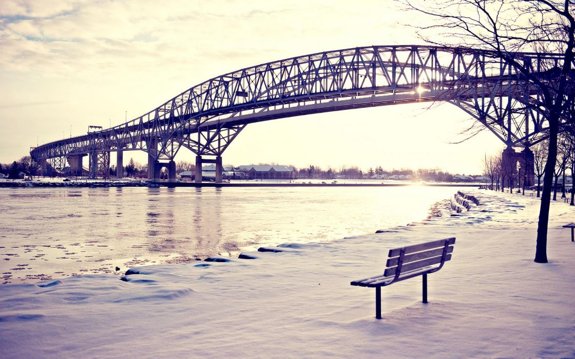world architecture bridges steel structure metal sky clouds sunlight roads rivers ice water shore landscapes winter snow seasons scenic bench trees buildings wallpaper
