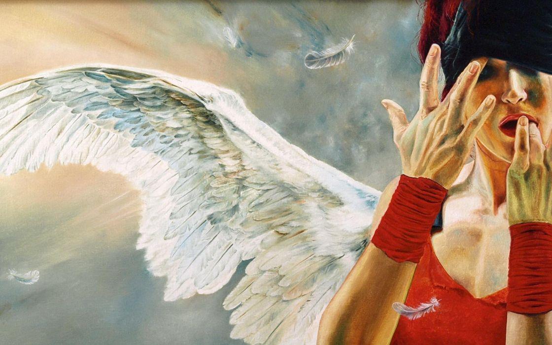 Wlodzimierz Kuklinski fantasy angels gothic wings feathers mood emotion expression hands sad sorrow art artistic paintings face women females girls dark wallpaper