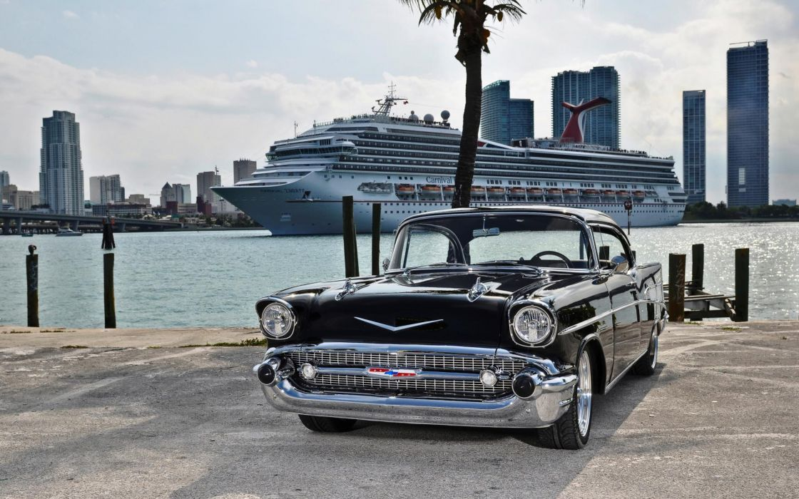 1954 Chevrolet Bel Air chevy auto retro classic ships boats cities buildings skyscrapers wallpaper
