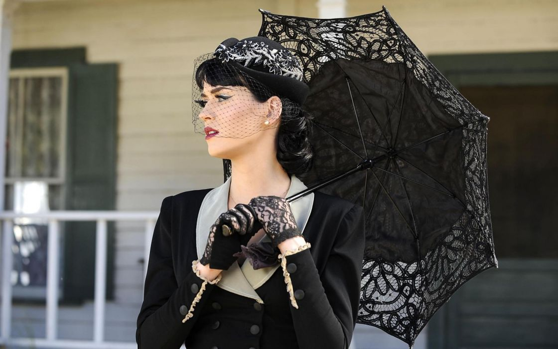 Katy Perry music musician singer brunette umbrella retro classic pose women females girls babes sensual celebrities wallpaper