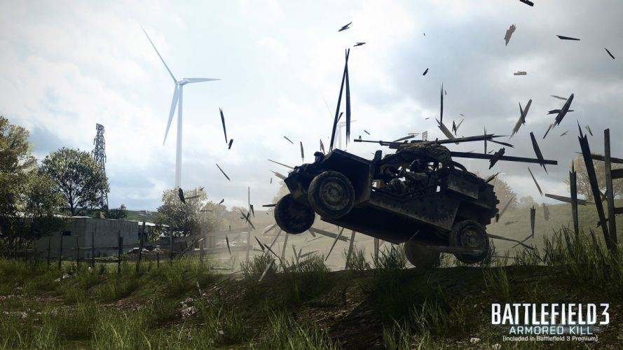 Battlefield 3 military weapons guns explosion motion action sky clouds wallpaper