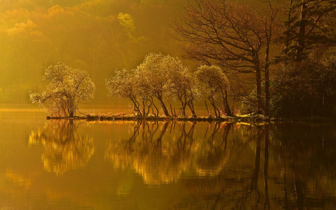 nature landscapes lakes water liquid reflection trees forests autumn fall seasons shore hills mountains leaves haze sunlight sunrise sunset wallpaper