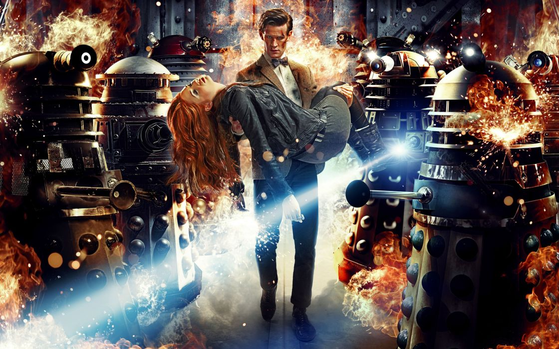 Doctor Who Matt Smith Daleks sci fi science fiction action adventure robots mech tech explosion fire flames women females girls babes men males color laser weapons wallpaper