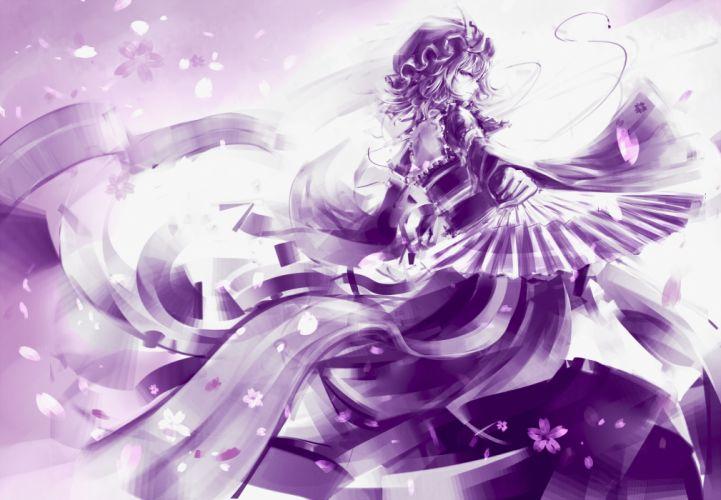 Touhou Saigyouji Yuyuko purple art artistic asian oriental dress gown fan women females girls wallpaper