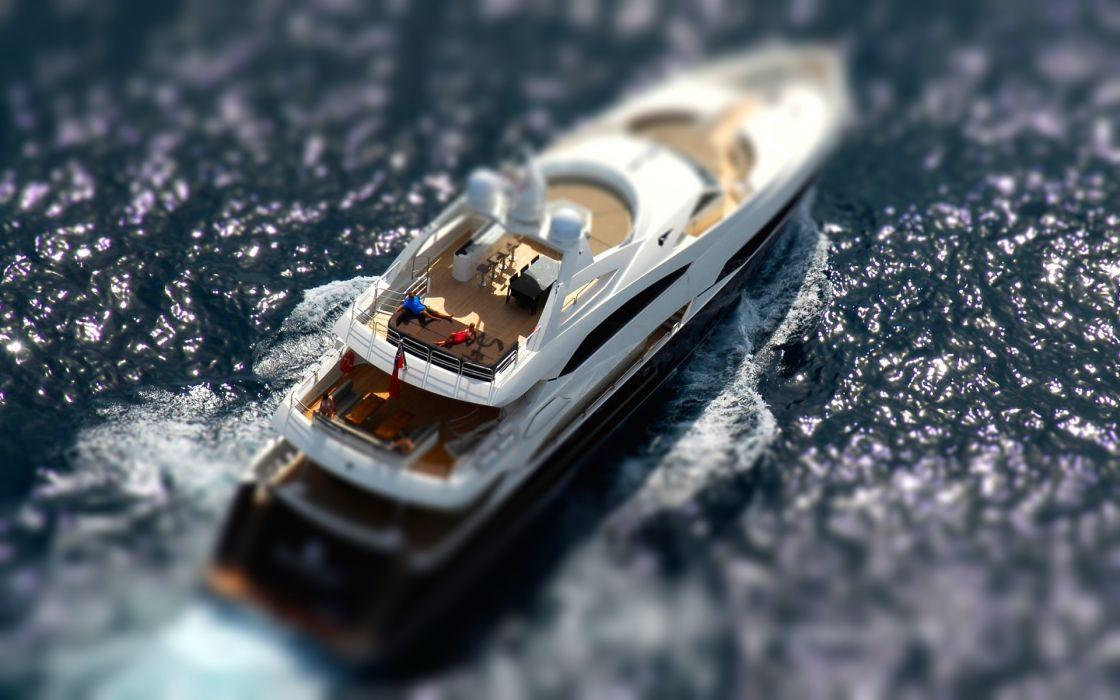 vehicles ships boats tilt shift people sailing sail ocean sea nature water sparkle wake fun cruise wallpaper